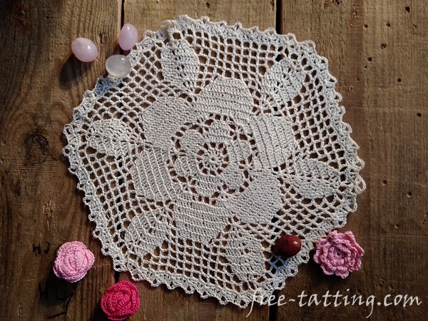 Crochet doily with flower