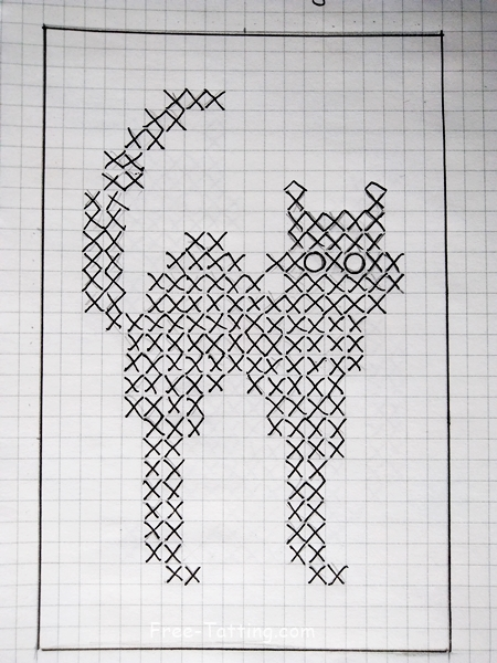 crochet doily cat diagram